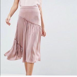 • ASOS | Mauve Satin Tiered Wrap Skirt •